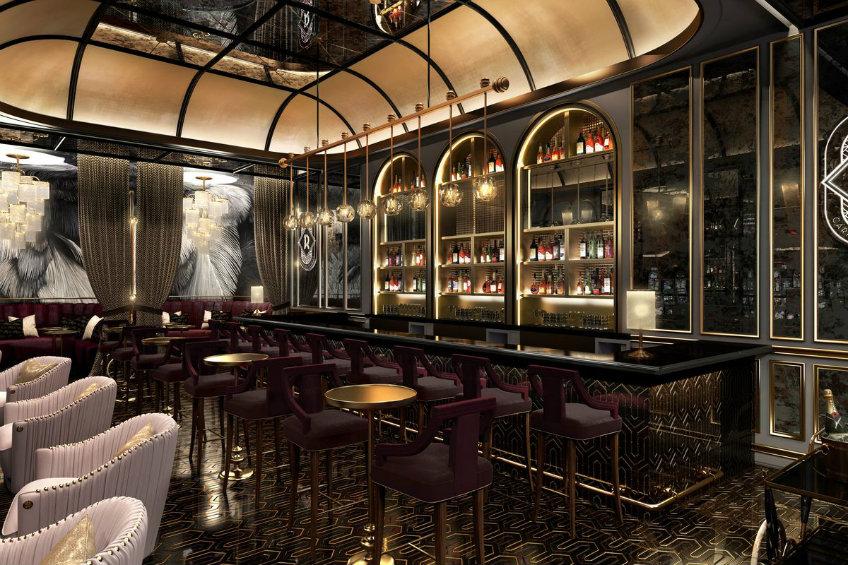 velvet chairs bar interior design
